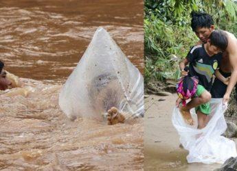 Vietnamese kids are using plastic bags as school transport