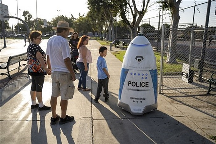 California's first robotic police officer ignored a woman reporting a crime, then 'sang her a song'
